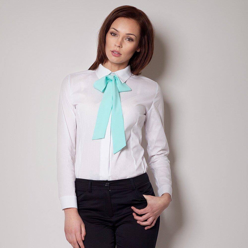 Dámská bílá košile s mentolovou vázankou Figl ef89aeebbd6