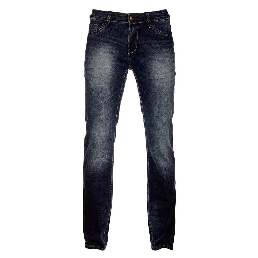 Pánské tmavě modré džíny Exe Jeans s ozdobným zipem  b49e1a7c9e