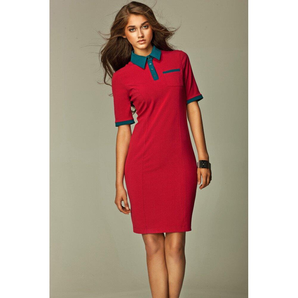 Dámské červené košilové šaty se zelenými detaily Nife  7b14a18aae