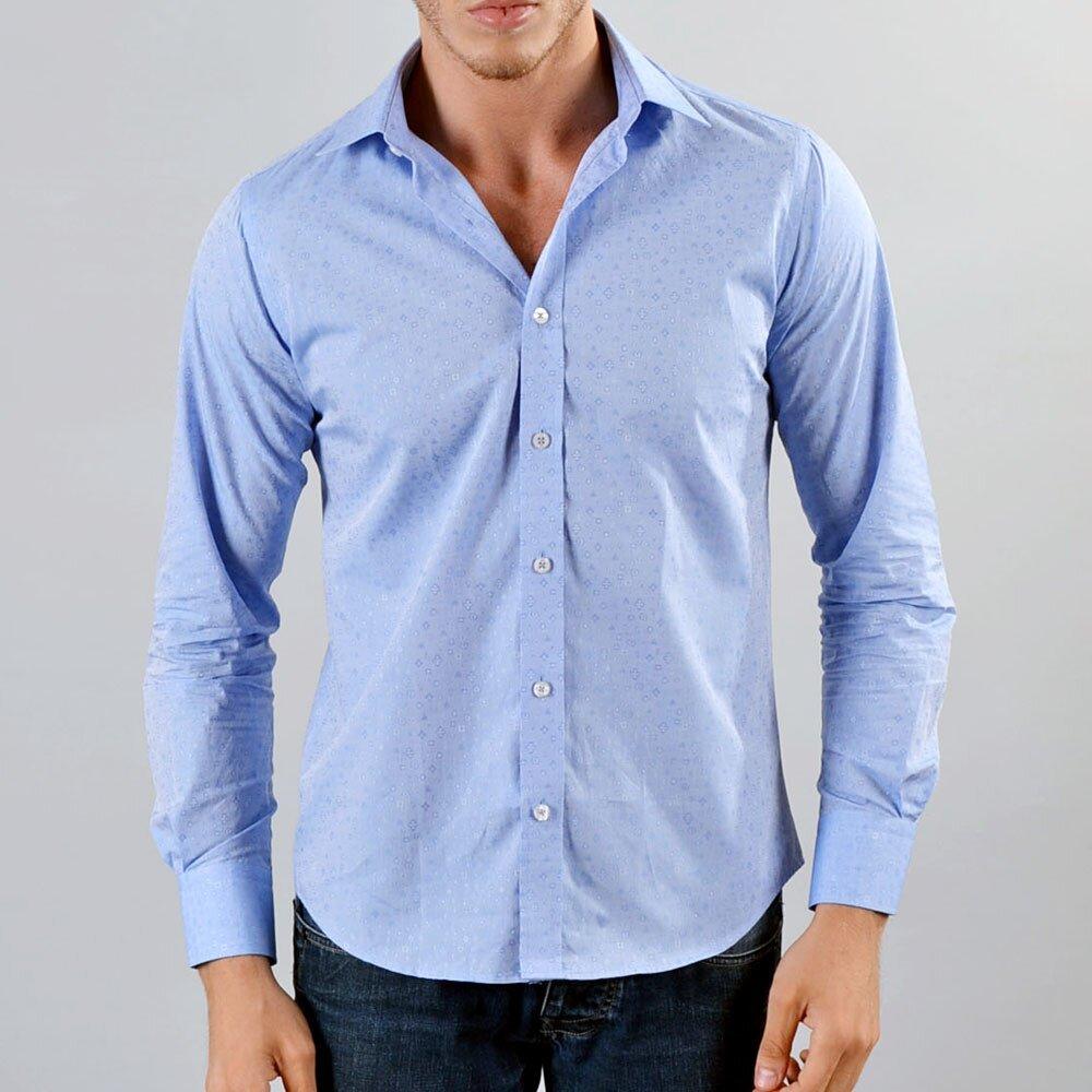 Pánská světle modrá košile s drobným vzorkem Marcel Massimo e4df5e5e2a