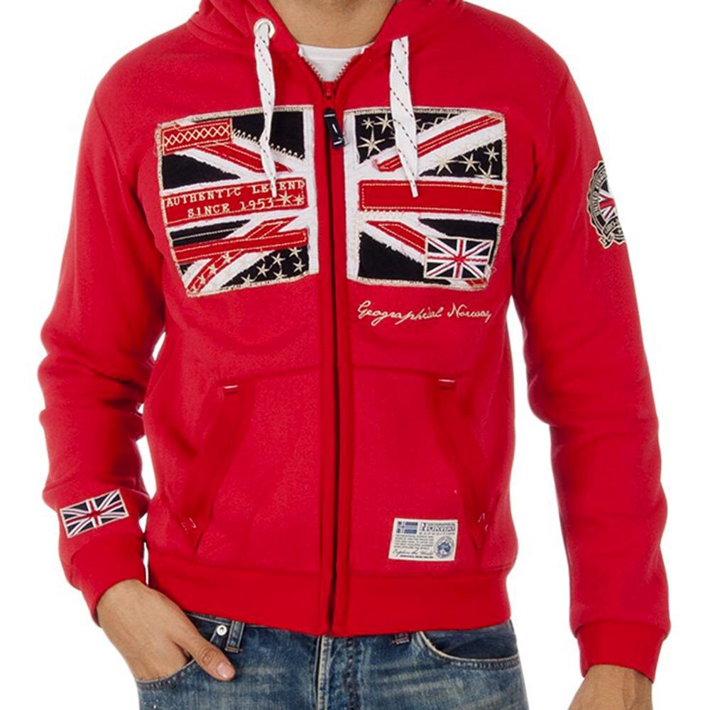 7dadbab766 Pánská červená mikina s britskou vlajkou Geographical Norway ...