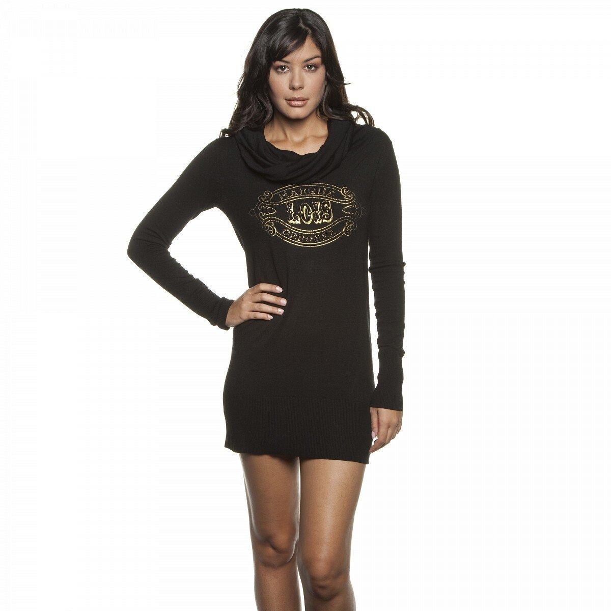 235b5a9b3ae Dámské černé úpletové mini šaty Lois s vysokým límcem a zlatým potiskem