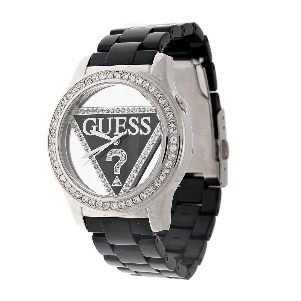 Dámské černo-stříbrné náramkové hodinky Guess s transparentním ciferníkem  b5497e7320