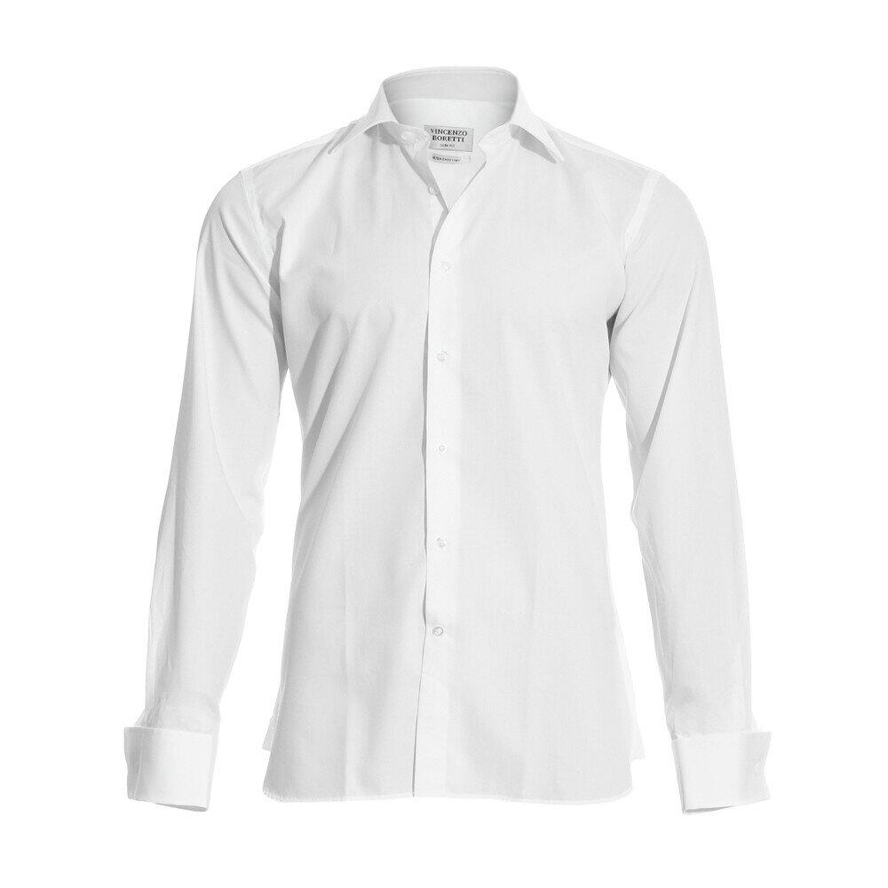 Pánská bílá slim-fit košile na manžetové knoflíčky Vincenzo Boretti ... 4ec7e3f9bc