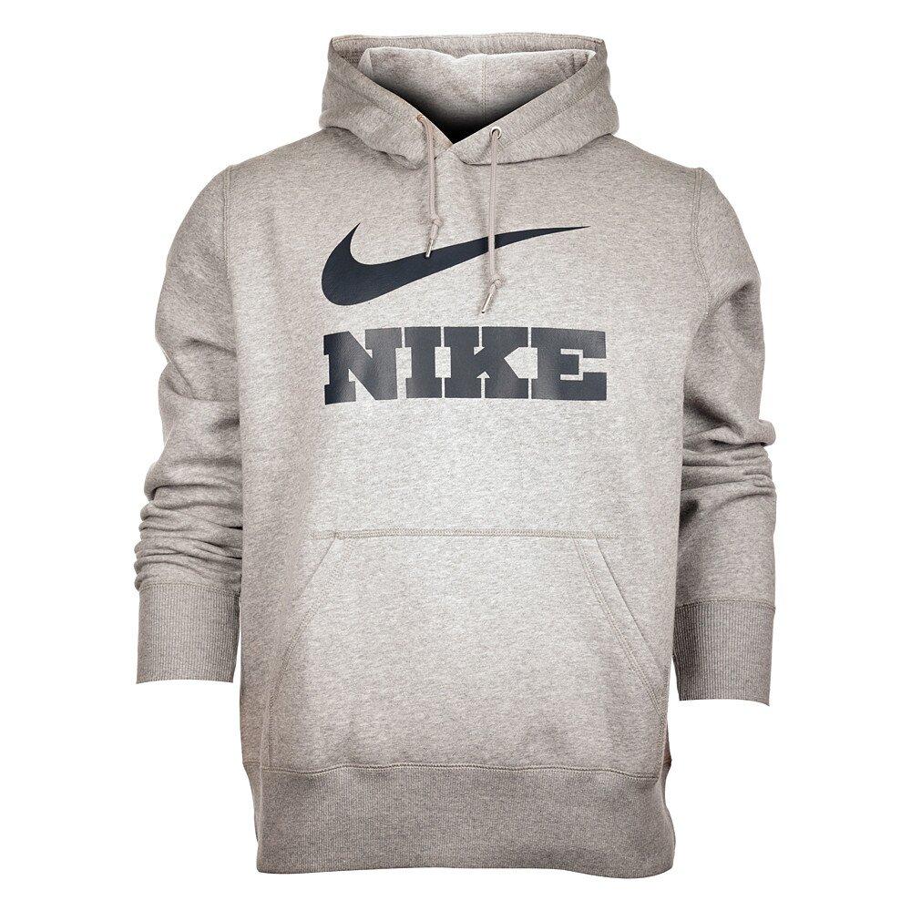 Pánská světle šedá melírovaná mikina Nike s kapucí a černým logem ... 0f3d298c2c