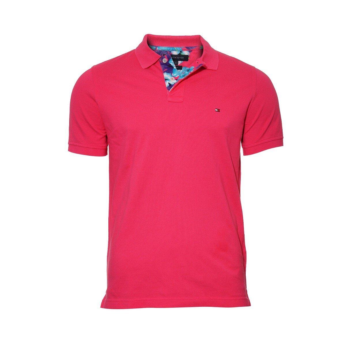 Pánské klasické tmavě růžové polo tričko Tommy Hilfiger  567058c661