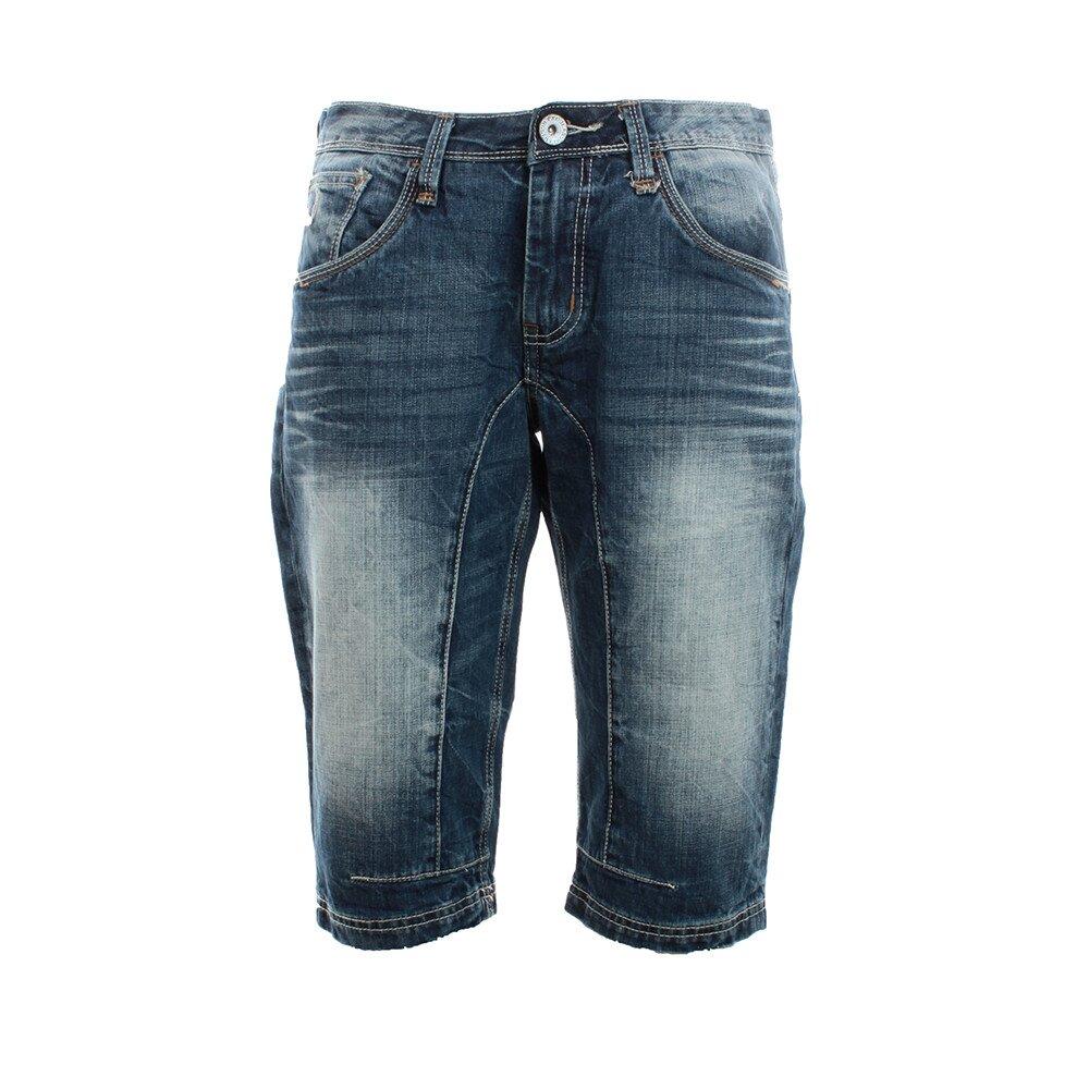 Pánské modré džínové kraťasy s šisováním Exe Jeans  cd270cdfd1