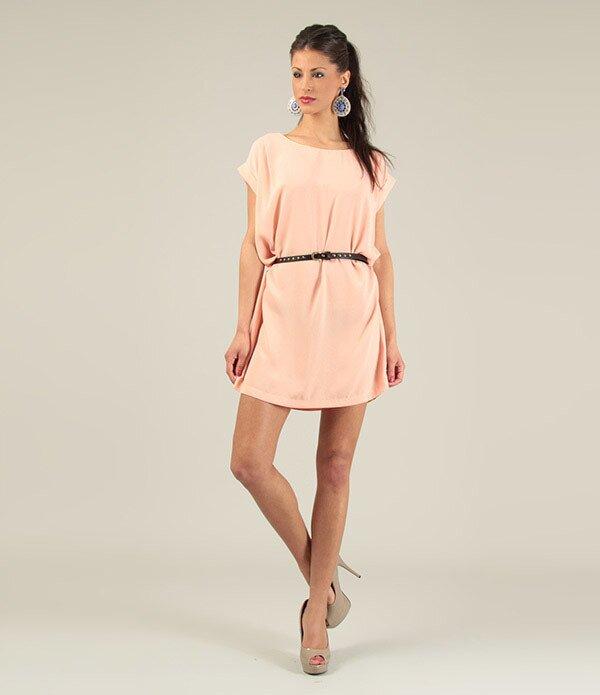 Dámské lososové krátké šaty s páskem Lili Lovely  b3f24248f9