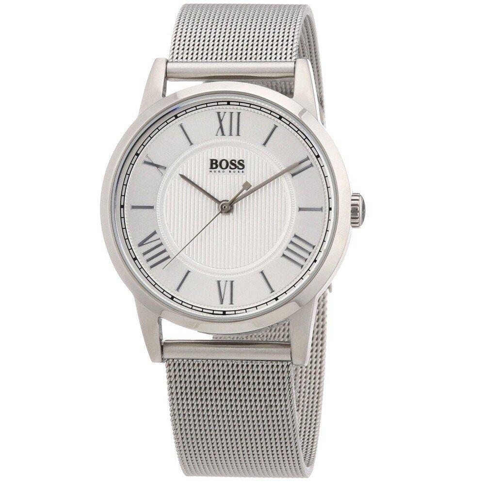 e4ebfc3a79b Dámské kulaté stříbrné hodinky s ocelovým tahem Hugo Boss Orange