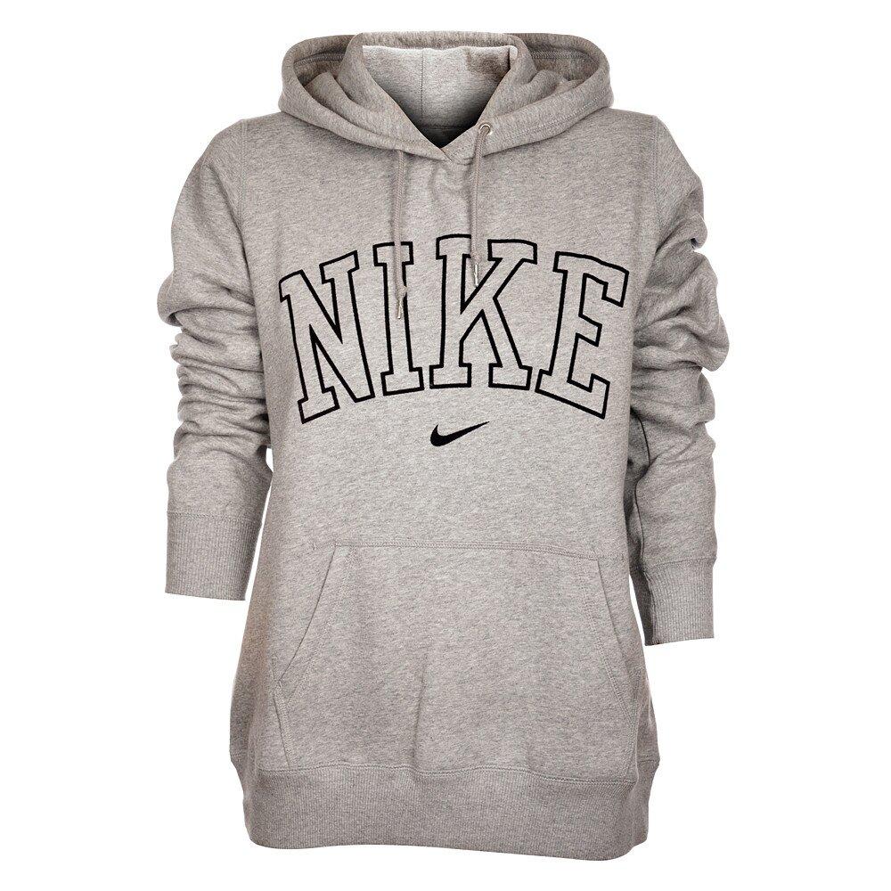 Dámská světle šedá mikina Nike s kapucí a černým logem  f6c301f260
