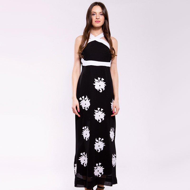 e2a052eacfe Dámské černo-bílé dlouhé šaty Almatrichi s květinami