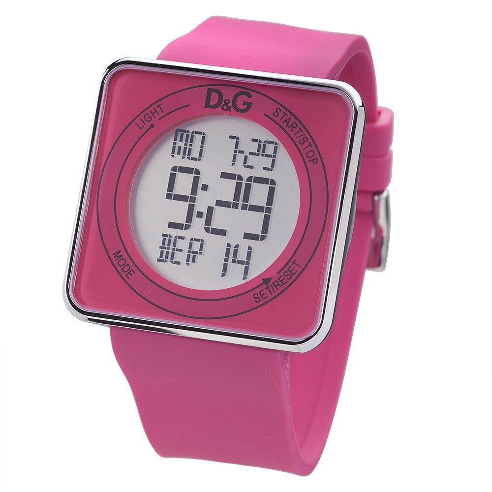 Dámské růžové digitální hodinky s hranatým ciferníkem Dolce   Gabbana  7efaf40fd6