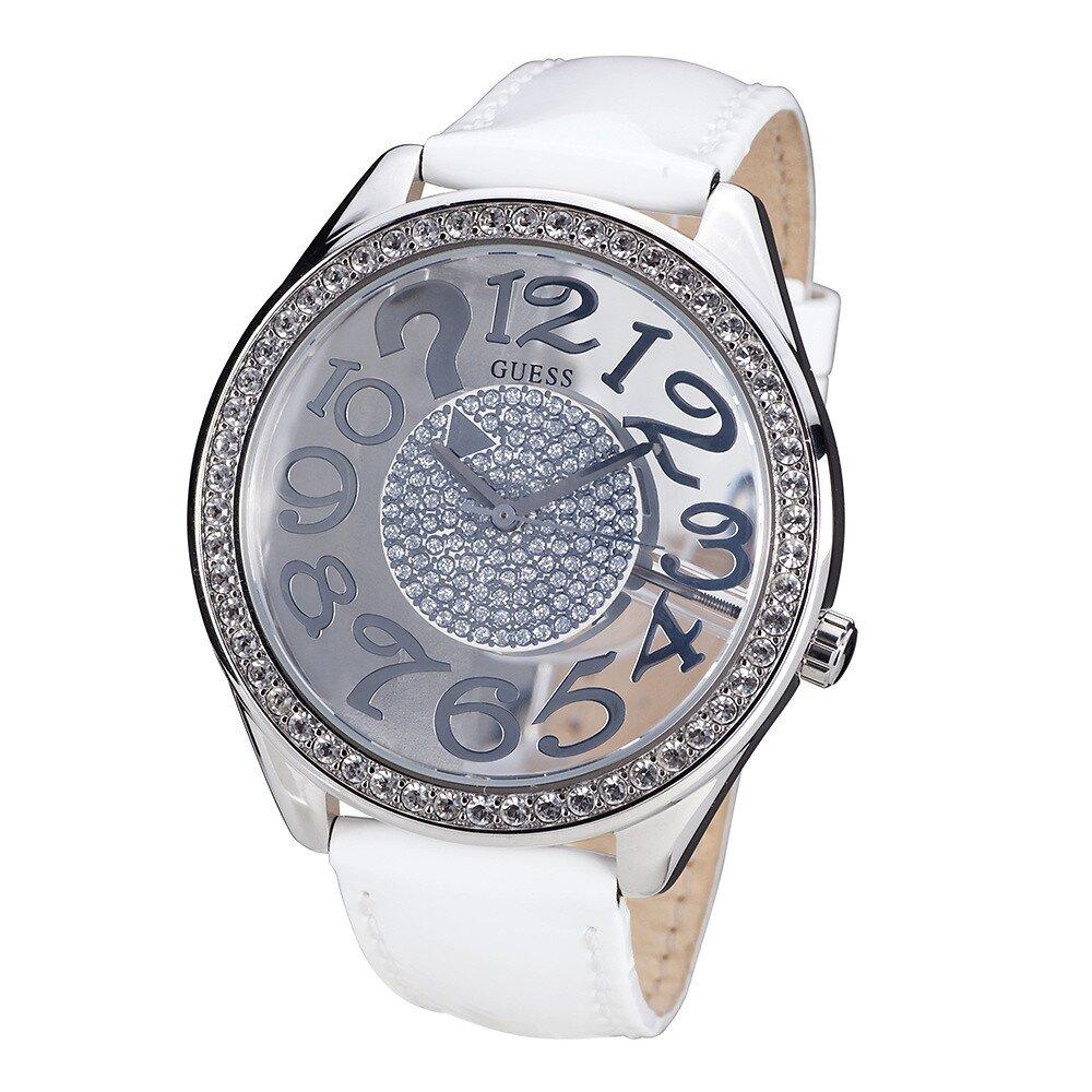 Dámské hodinky s kamínky a bílým páskem z kůže Guess c20a09c87b