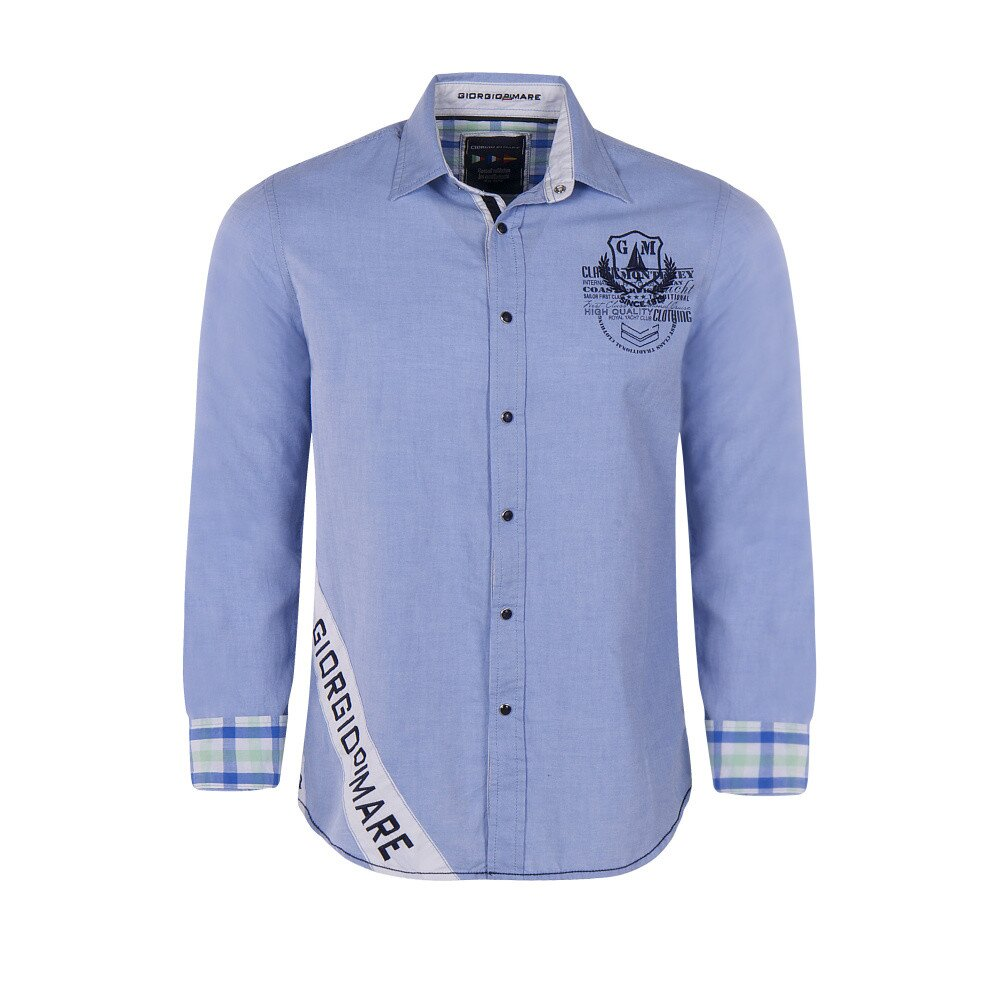 ac916aa975e Pánská bleděmodrá košile s výšivkou na hrudi Giorgio Di Mare ...