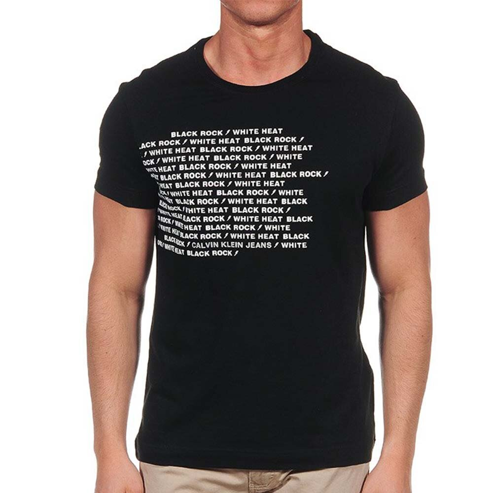 Pánské černé tričko s krátkým rukávem a bílým nápisem Calvin Klein ... d39f98fc41
