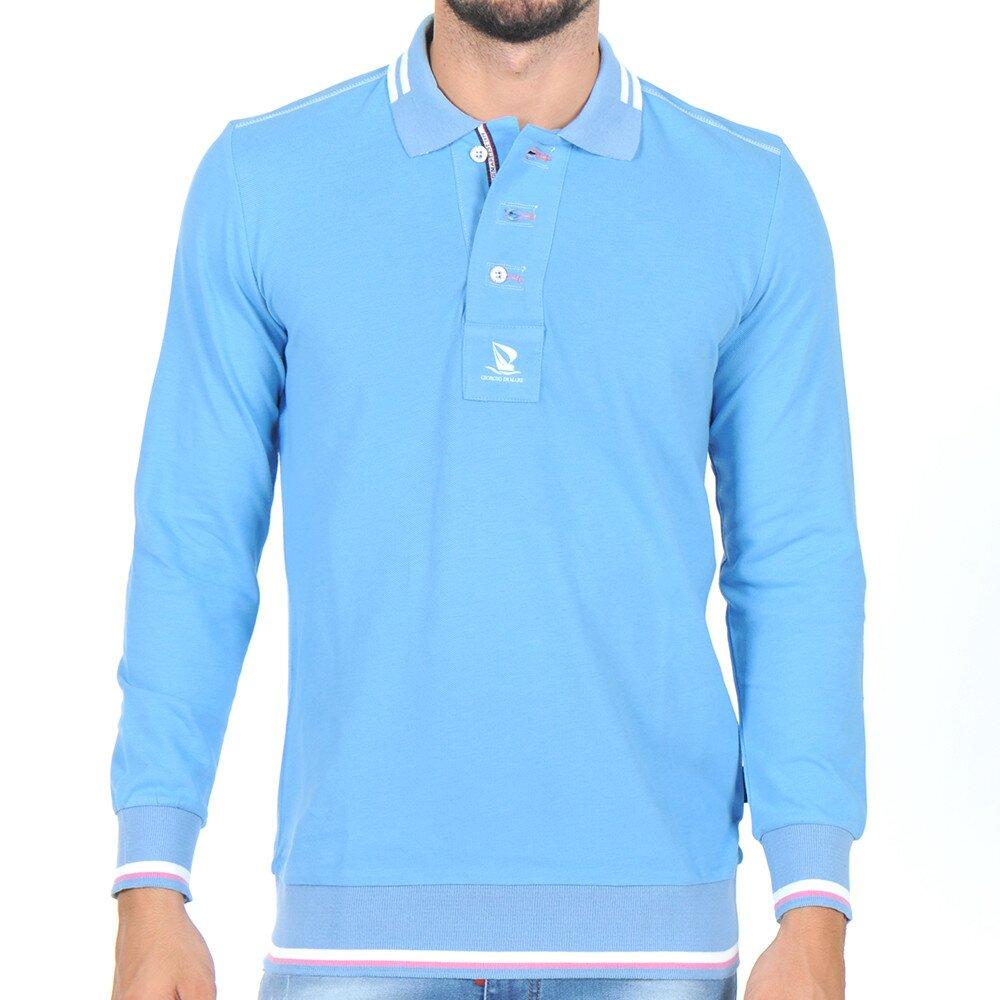 68e053474ce Pánské světle modré polo tričko s dlouhým rukávem Giorgio Di Mare ...