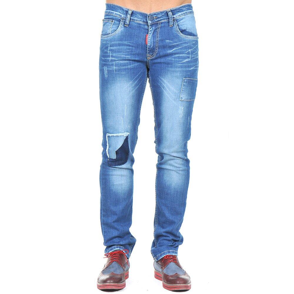 1a49f438e2f1 Pánské modré džíny se záplatami Giorgio di Mare