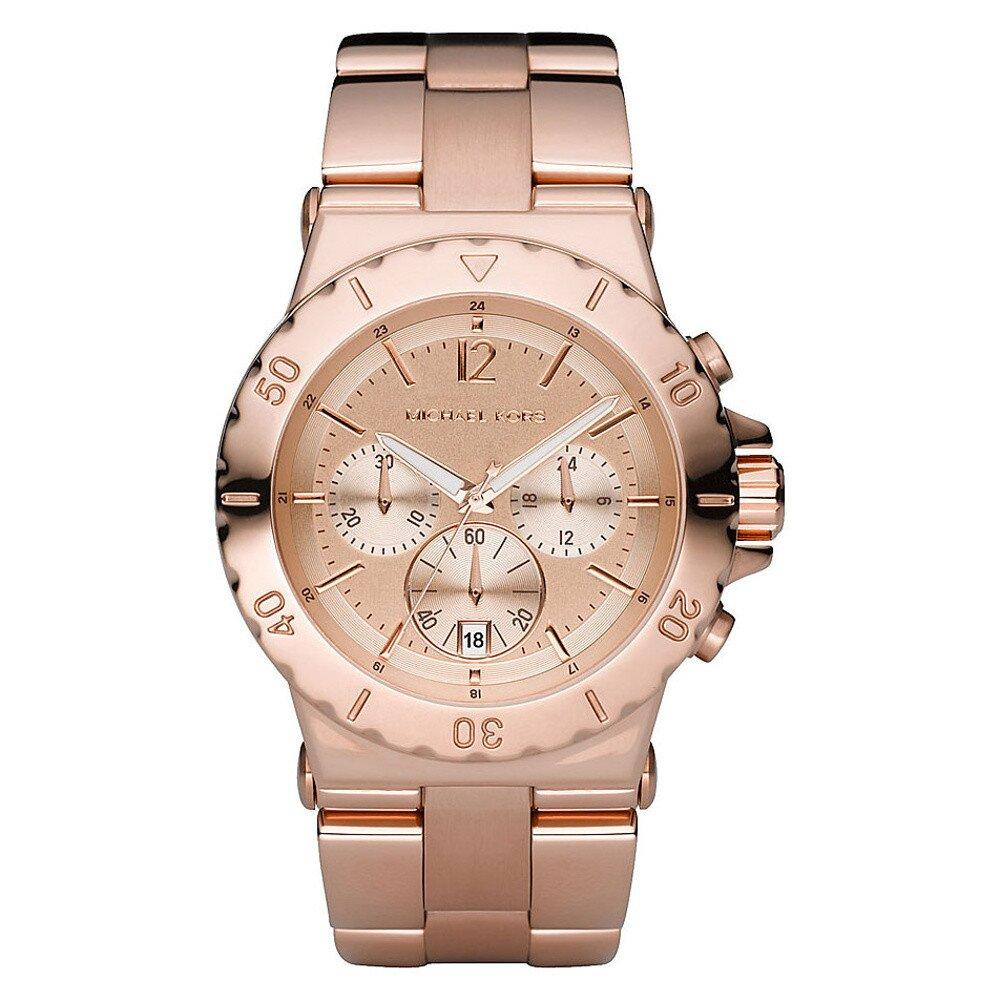 5f479884c13 Dámské hodinky s chronografem v barvě růžového zlata Michael Kors