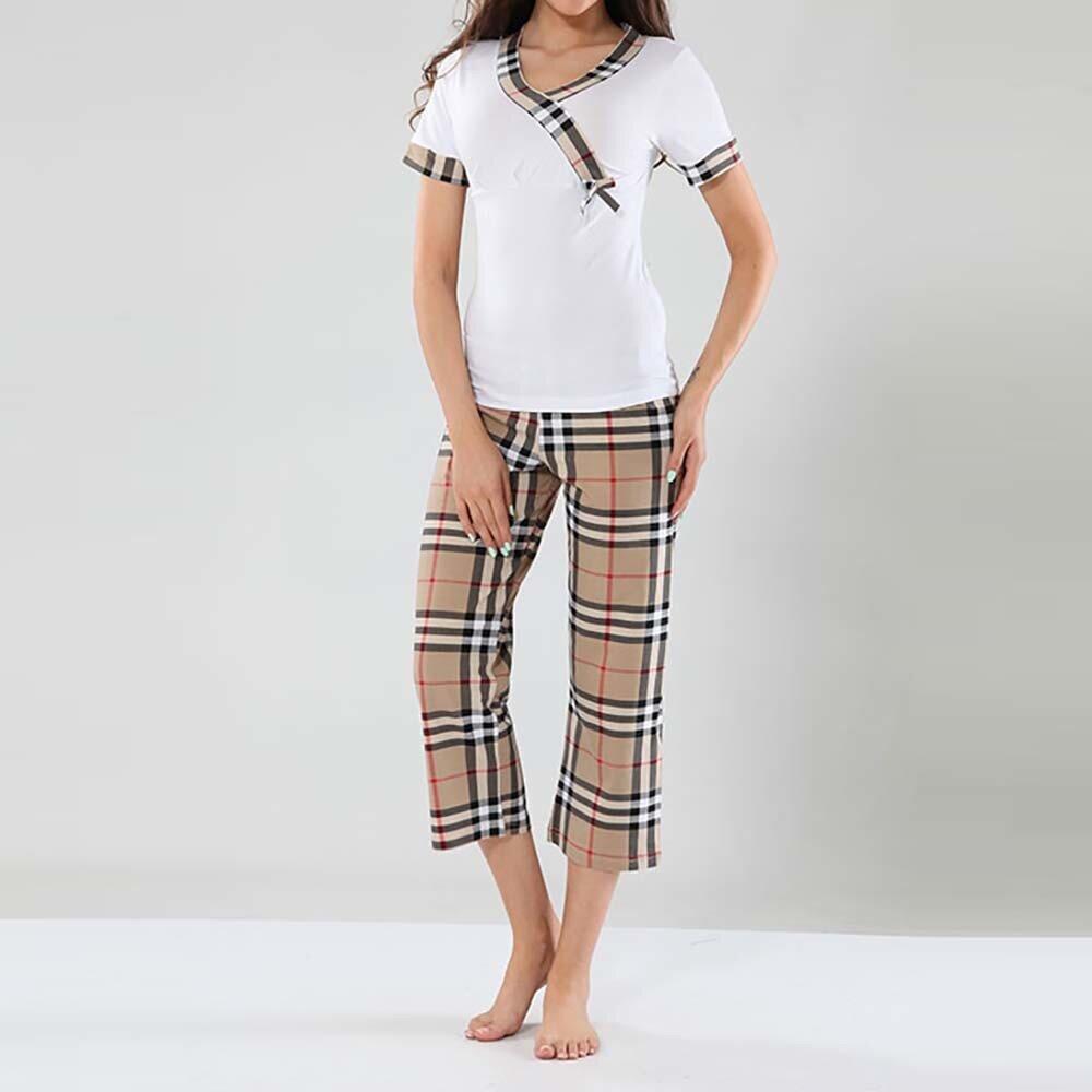 Dámské pyžamo Fagon - bílé tričko a kostkované kalhoty  a47334a279