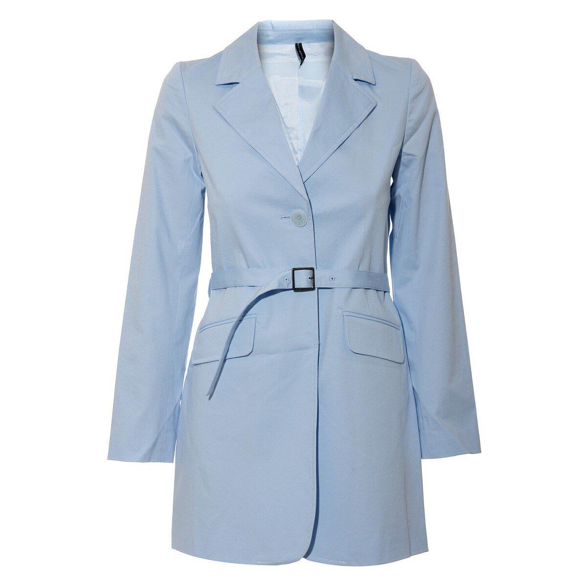 31ccf4c2dfc Světle modrý dámský jarní kabát Naf Naf