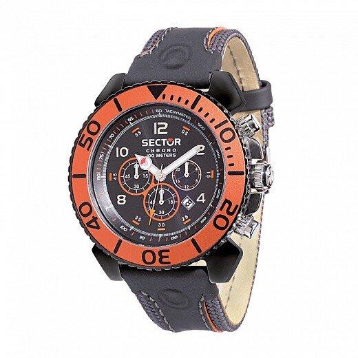 Pánské černo-oranžové hodinky Sector s koženým řemínkem  6a6f339197a