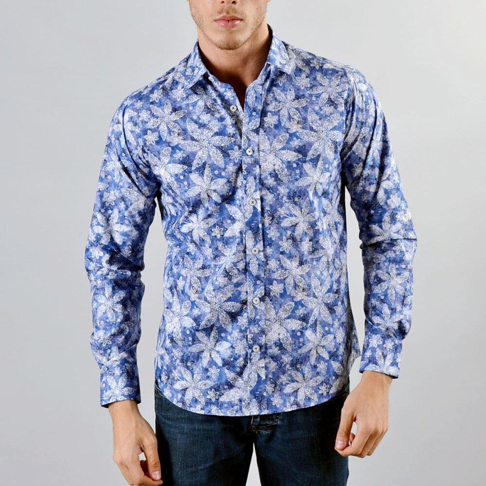 Pánská modrá košile Marcel Massimo se vzorem květin  50d223c988