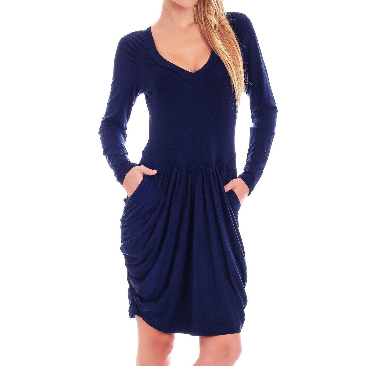 e67e8cd6364 Dámské tmavě modré šaty s dlouhým rukávem Berry Couture