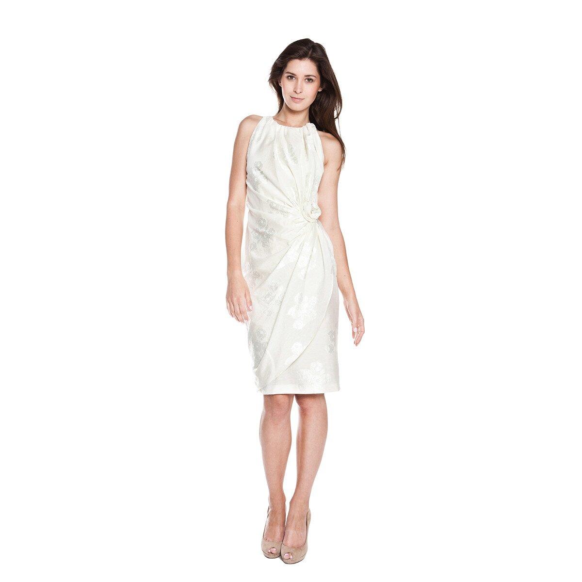 419f1f19d351 Dámské bílé pouzdrové šaty Moschino Cheap   Chic s vyšitými růžemi ...