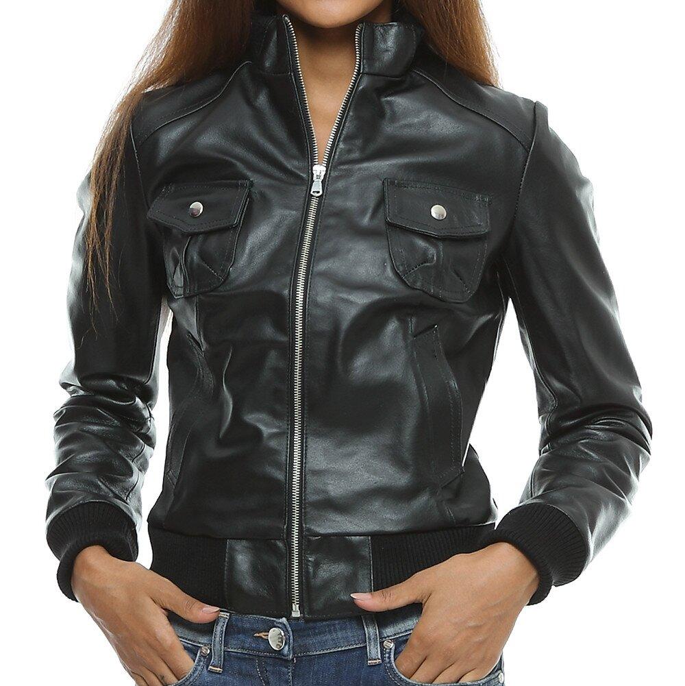 Dámská černá kožená bunda s kapsami Mangotti  9dc4618cfcb