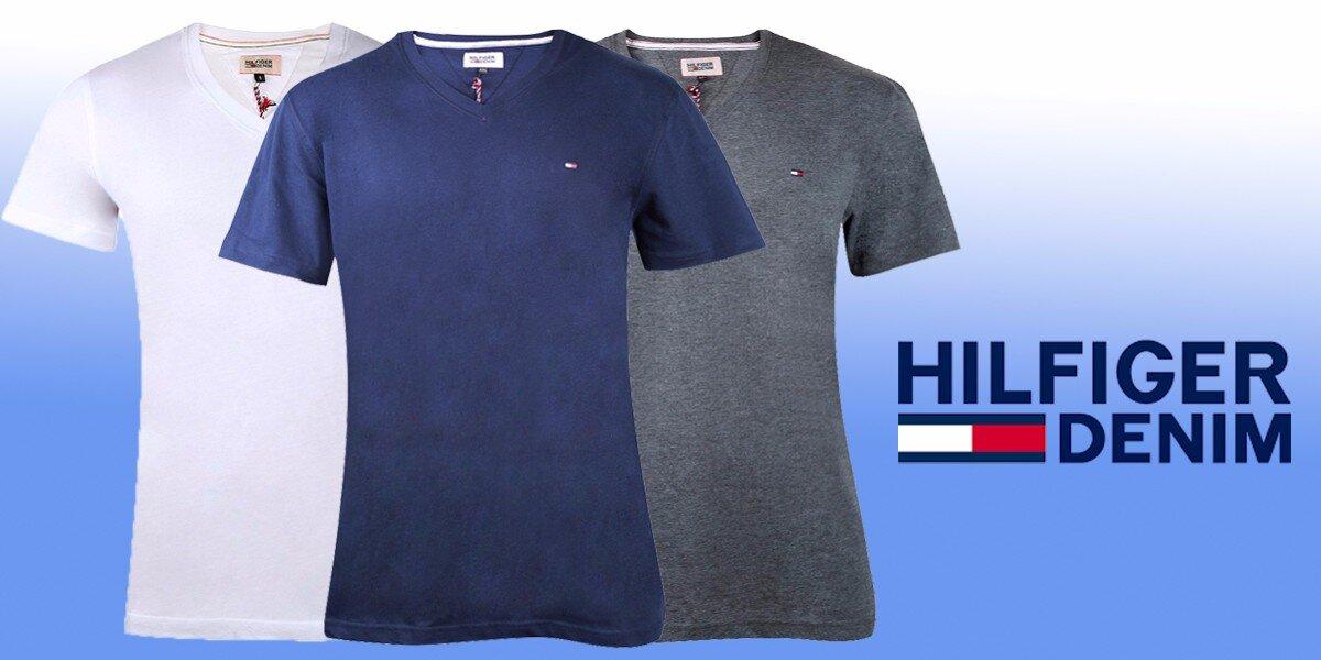 0e41467021a7 Pánské tričko Hilfiger Denim s výstřihem do V
