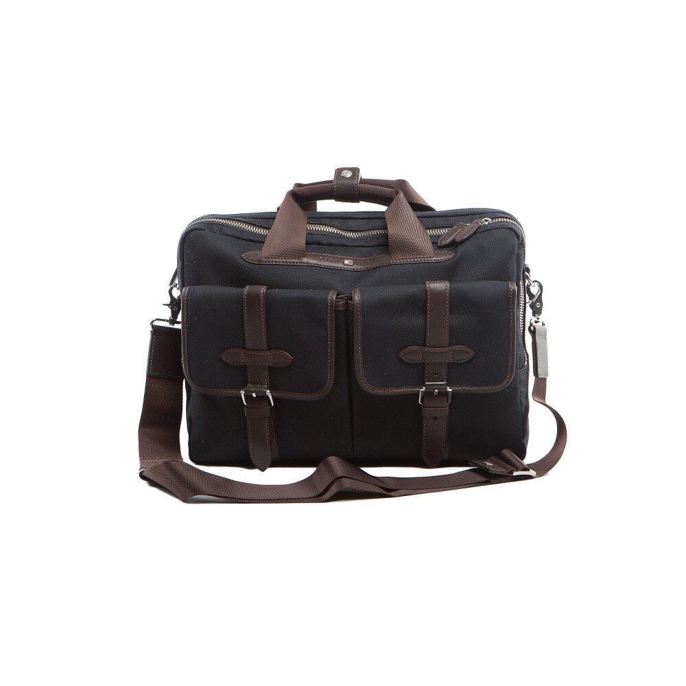 Černo-hnědá látkovo-kožená taška na PC se dvěma zipy Tommy Hilfiger ... 10420ee507c