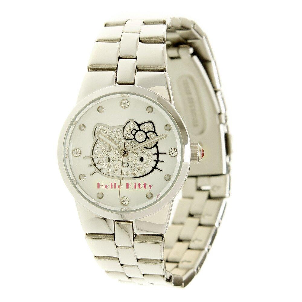 Dámské analogové ocelové hodinky se skleněnými krystaly Hello Kitty ... 64a770a55d