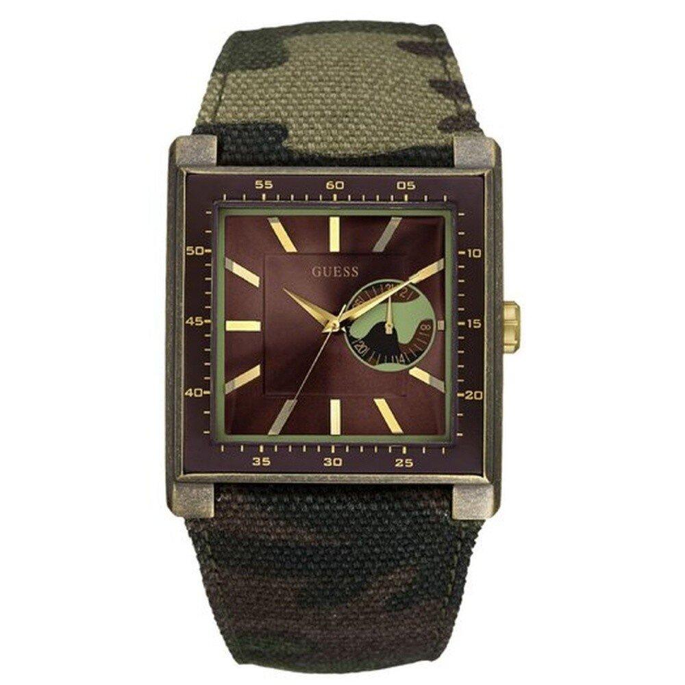 Pánské analogové hodinky s maskáčovým páskem Guess  0f8a1ea638