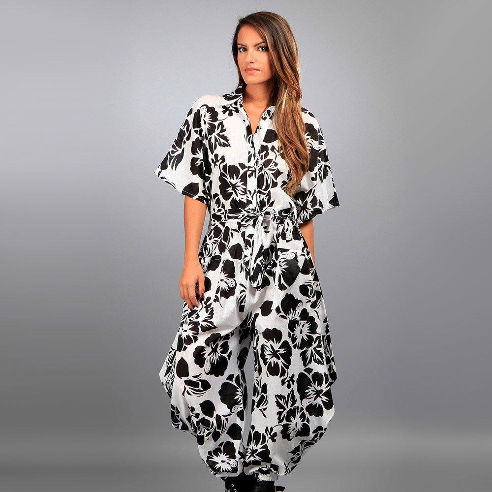 Dámský černo-bílý overal Des Si Belles s harémovými kalhoty a potiskem  b7f8a220d1