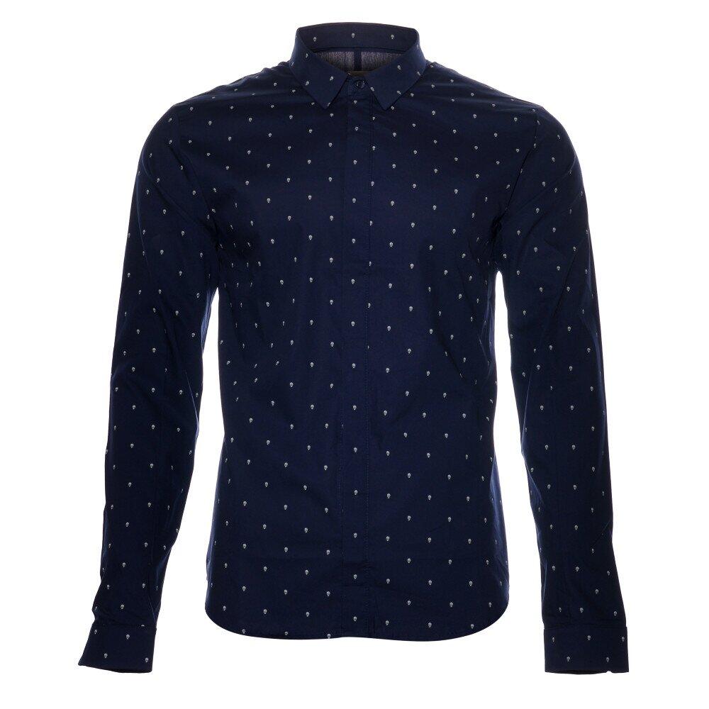 9e57caeba00 Pánská tmavě modrá košile Eleven Paris s lebkami