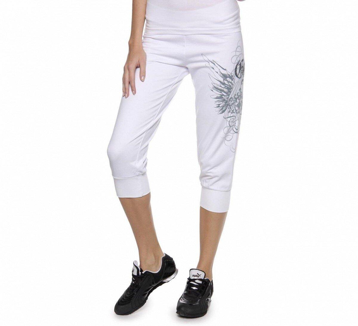 b46f9510351 Dámské bílé tříčtvrteční kalhoty Guess s potiskem