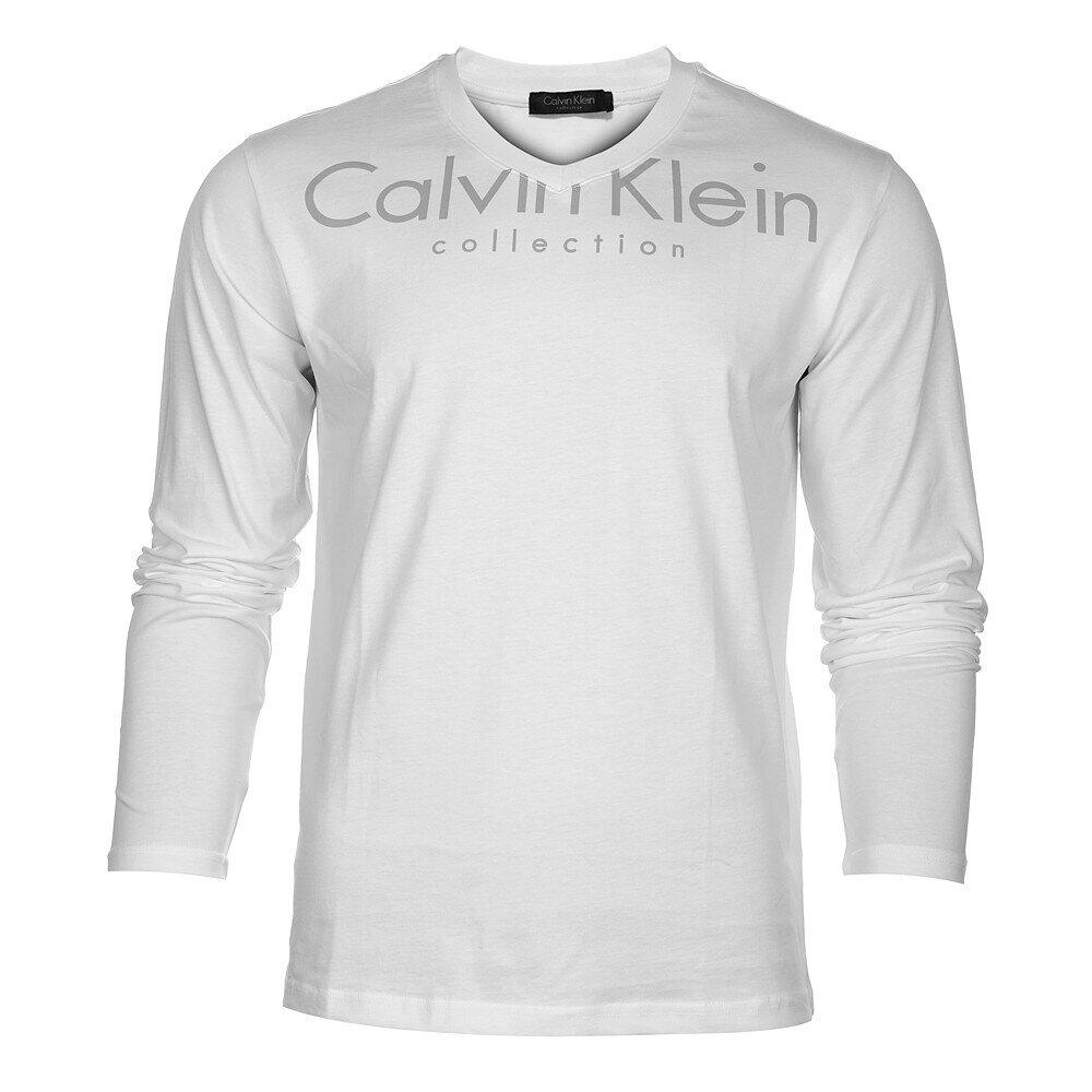 Pánské bílé tričko CK Calvin Klein s šedým potiskem  0b2874d8f7