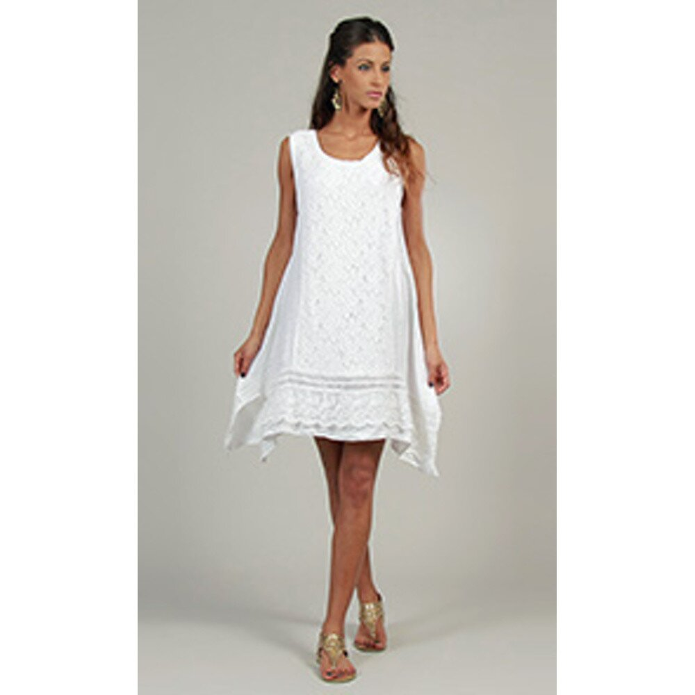 6520d5938cc1 Dámské bílé lněné šaty s krajkovým předním dílem Lin Nature ...