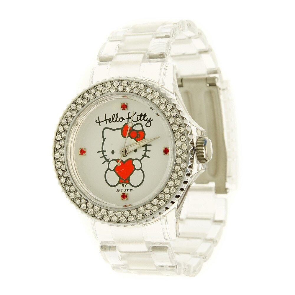 f0ea3c52765 Dívčí bílé hodinky s krystaly Hello Kitty