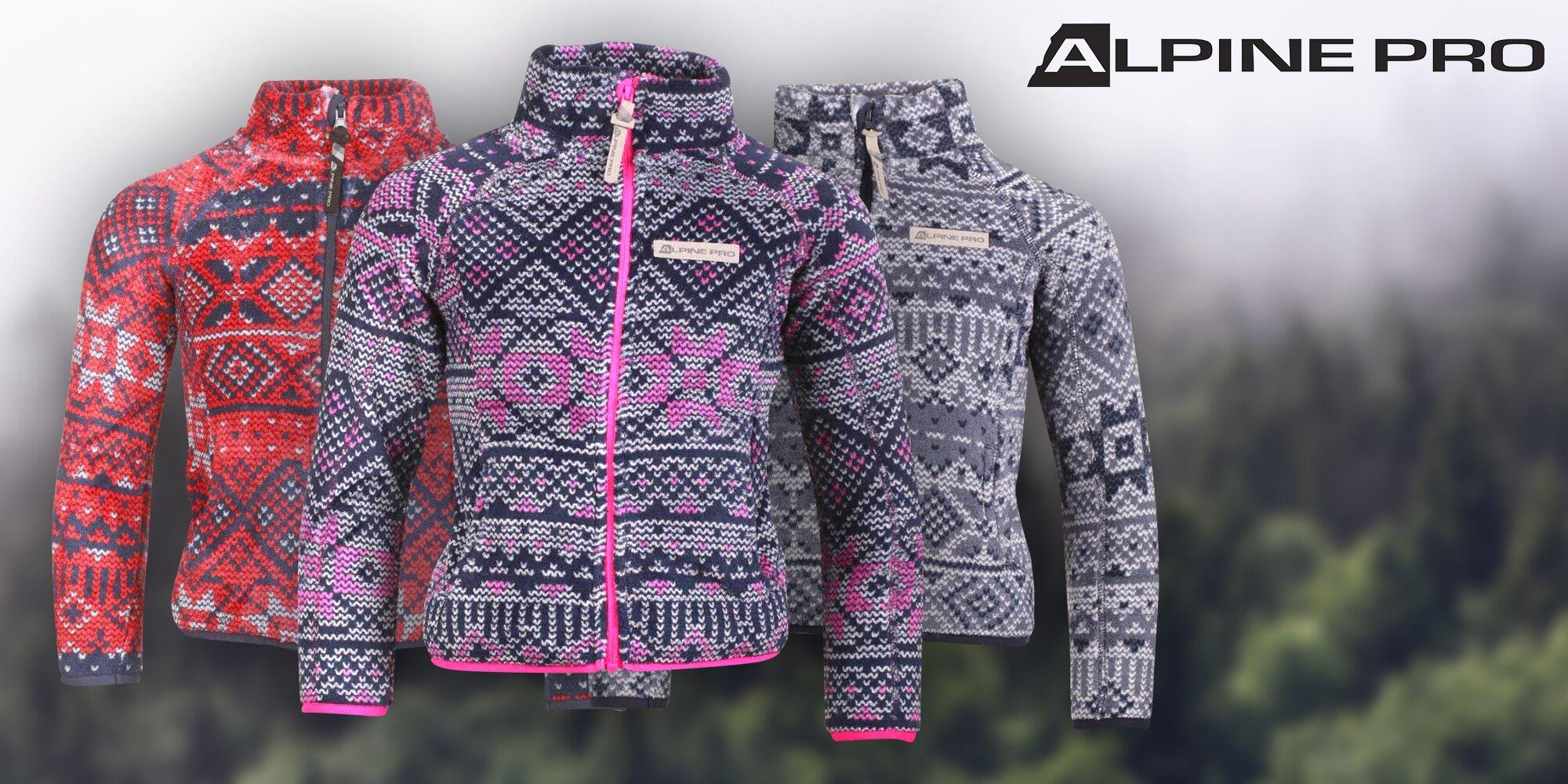 Hřejivé dětské vzorované mikiny Alpine Pro  8cd628b4418