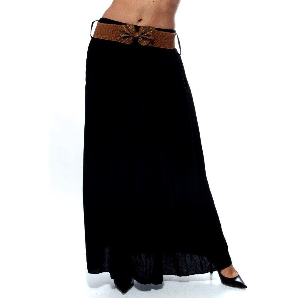 Dámská černá dlouhá sukně s hnědým páskem Trois Quatorze  f73b87d72f