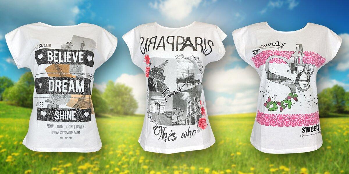 9d5d7abbad2 Dámská bavlněná trička ze 100% bavlny s potiskem