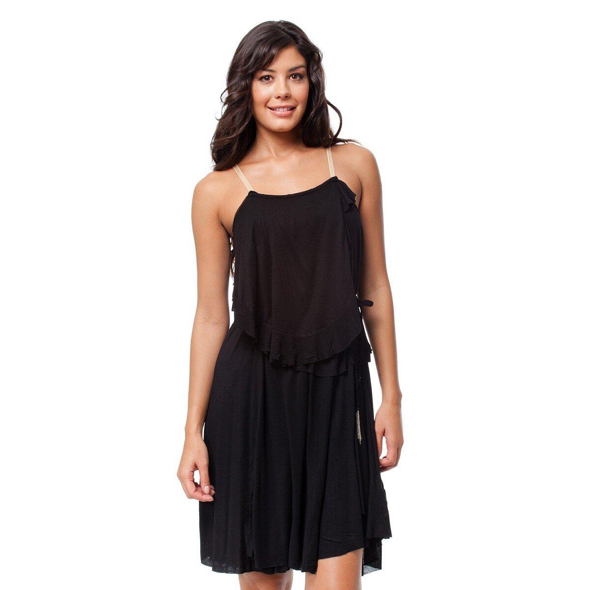 7a41207e191b Romantické černé šaty s volány Guess