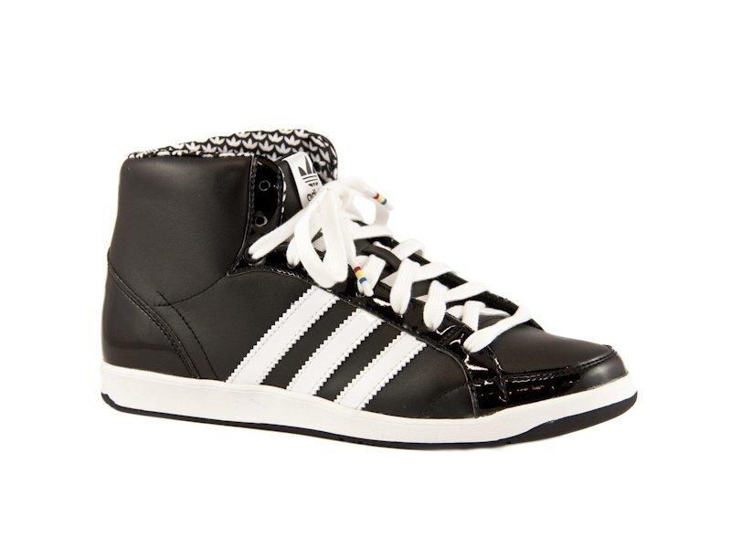 d8e099295e0 Černé kožené kotníkové tenisky Adidas s bílými proužky
