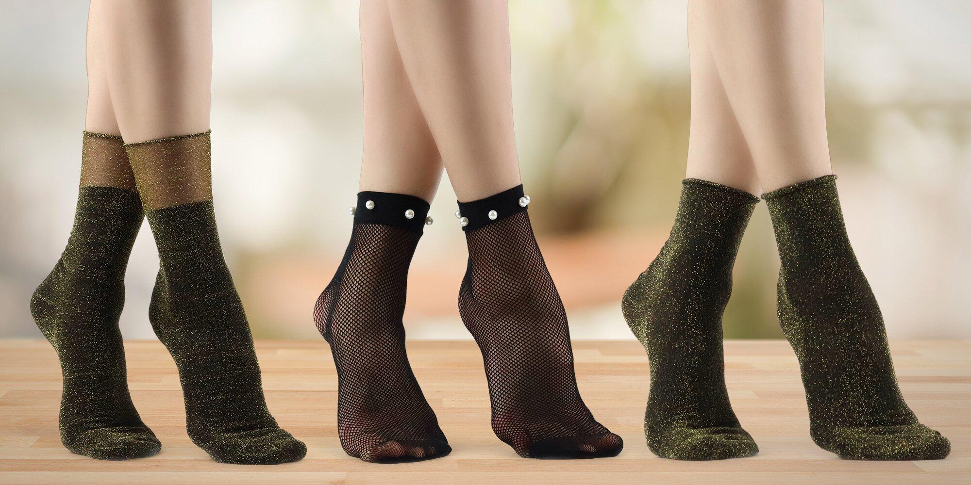 e72a4fce1ee Dámské ponožky  třpytivé nebo s perlami