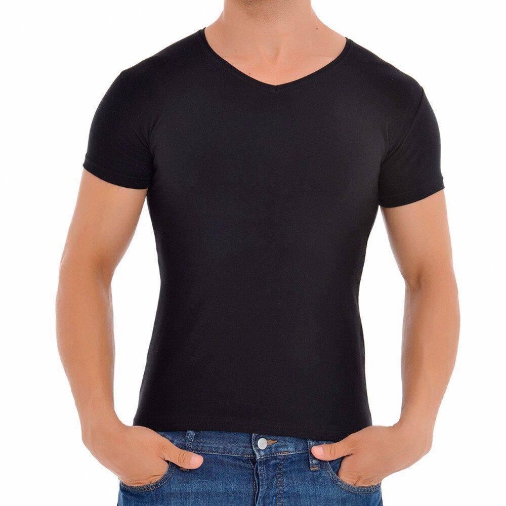 a4b43ae8059 Pánské černé tričko s véčkovým výstřihem Wessi