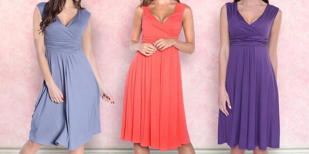 Šaty bez rukávů s nařaseným dekoltem - 8 barev  83ec054534