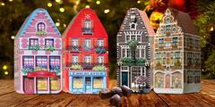 Dóza ve tvaru domečku plná belgických pralinek