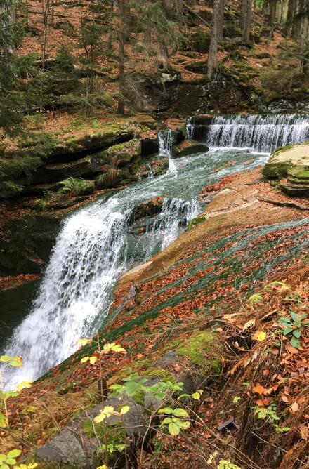 K vodopádu Szklarky to můžete vzít lesem přímo z Poruby, nebo si popojeďte autem, zaparkujte skoro u vodopádu a využijte bezbariérový chodník, který vás k vodopádu zavede.