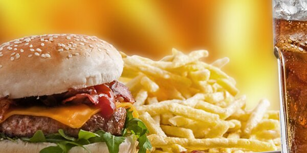Šťavnatý PUB Bacon burger i s pivem nebo nealko nápojem